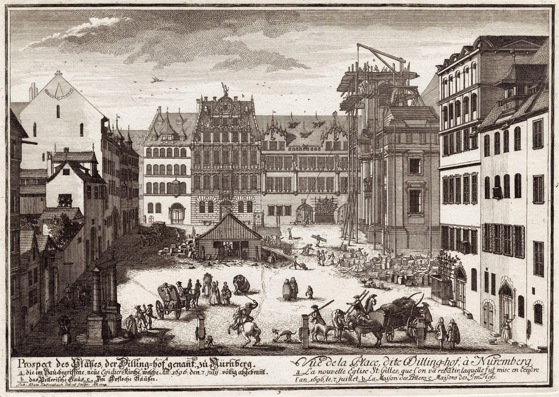 Prospect des Platzes der Dilling-hof genannt zu Nürnberg Gesamtansicht