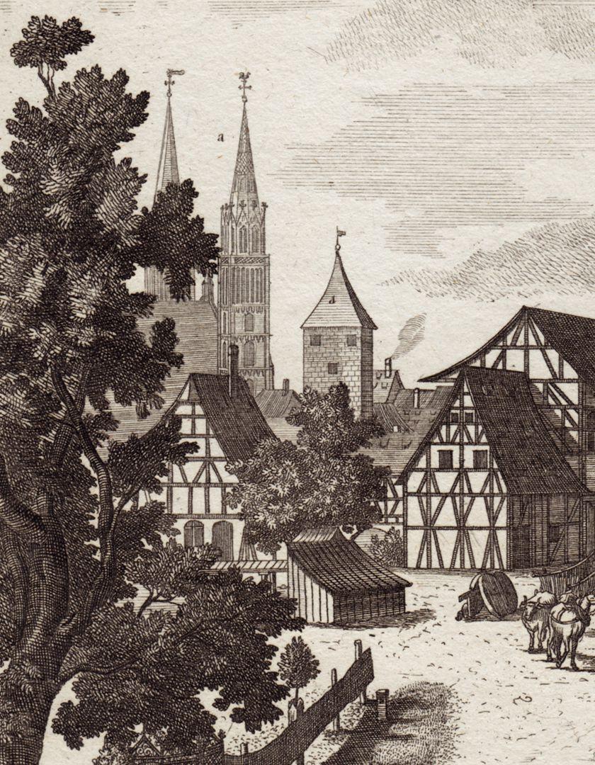 Die Schütt zu Nürnberg allwo man auch Reitschule hält Detailansicht mit Lorenzkirche