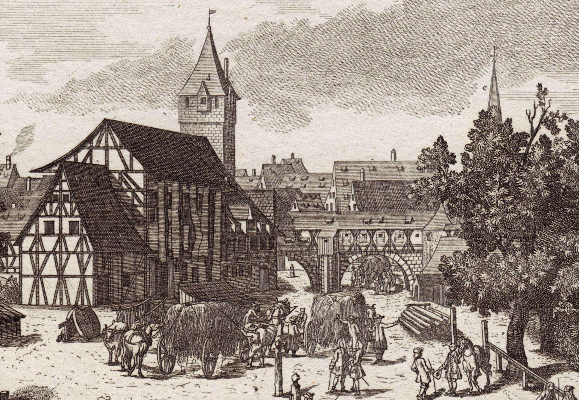Die Schütt zu Nürnberg allwo man auch Reitschule hält Detailansicht mit Männereisen