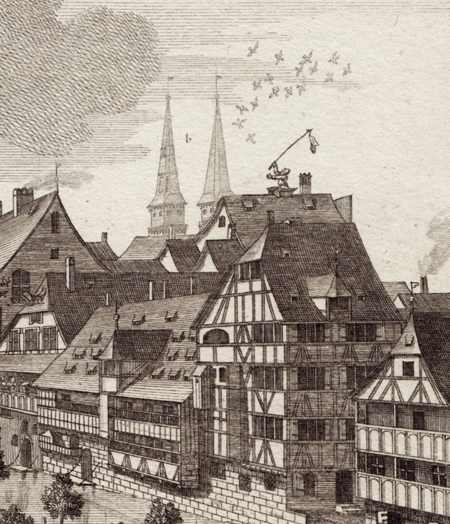 Die Schütt zu Nürnberg allwo man auch Reitschule hält Detailansicht mit Uferbebauung und Helmen von St. Sebald