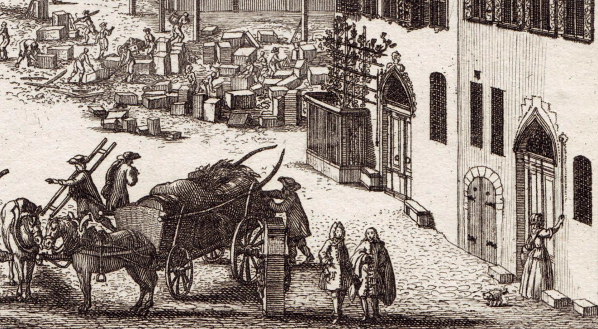 Prospect des Platzes der Dilling-hof genannt zu Nürnberg Detail mit Straßenszene