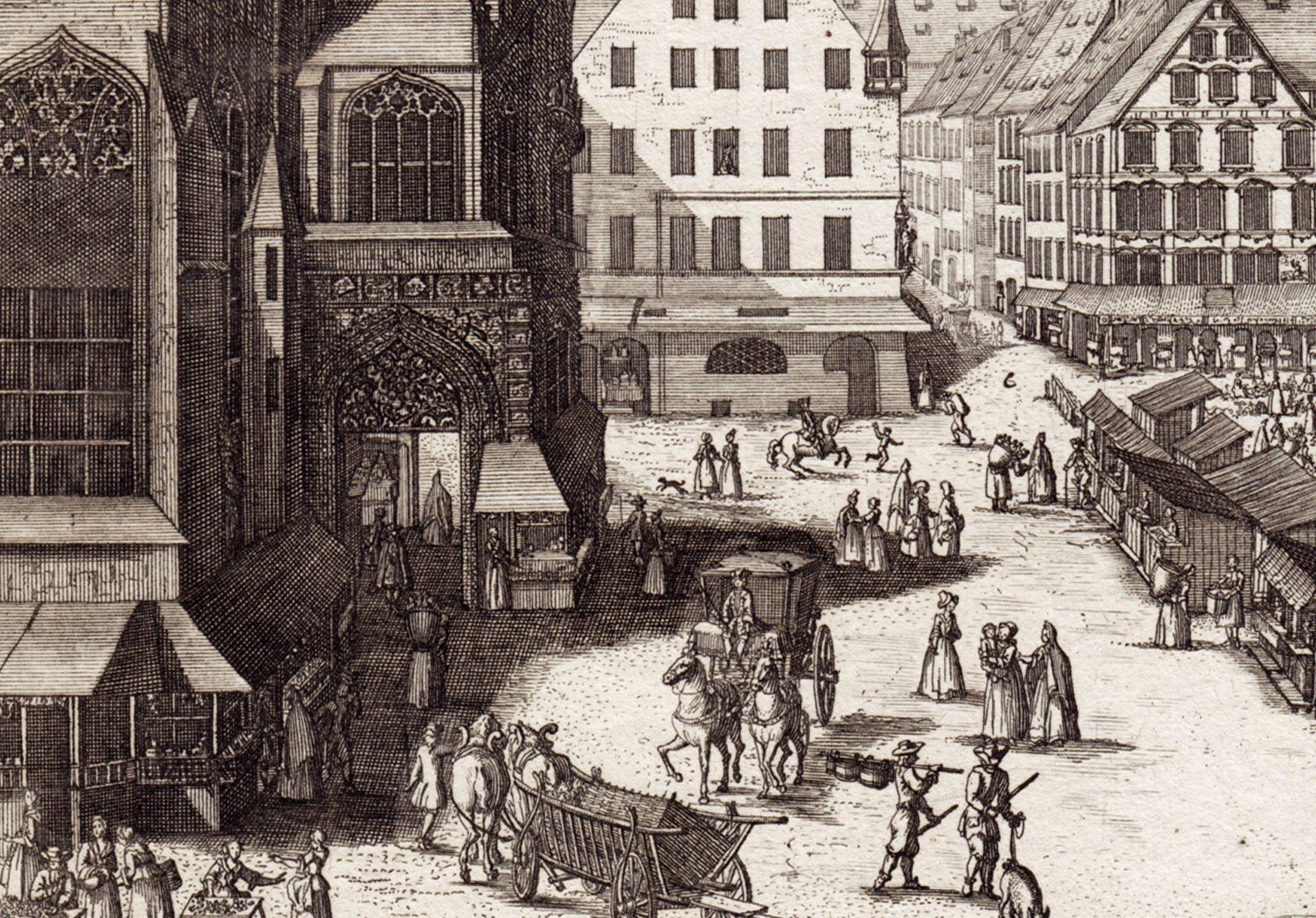 Der Grosse Markt zu Nürnberg Detailansicht vor der Frauenkirche
