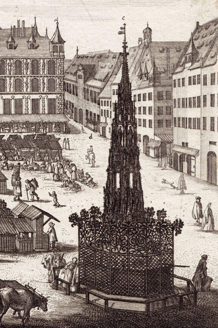 Der Grosse Markt zu Nürnberg Detail mit Schönen Brunnen