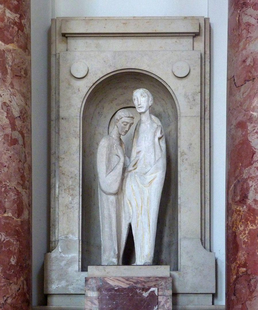 Christus und Thomas Figurengruppe in Halbrundnische