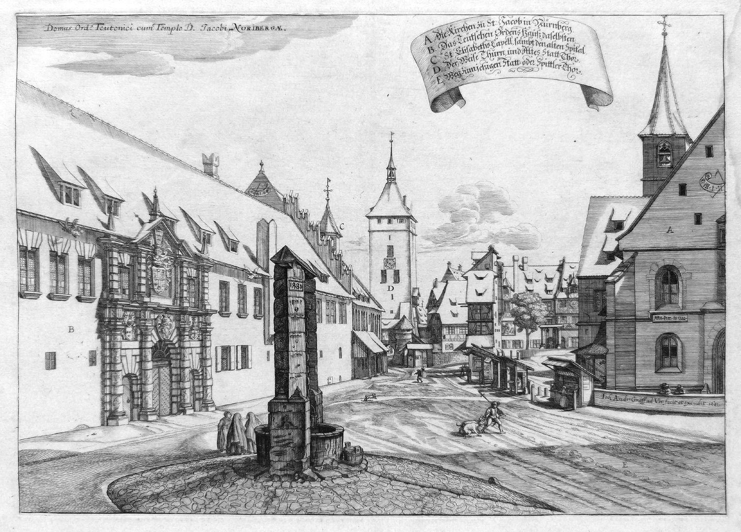 """Urbis Norimbergensis Insigniorum Templorum …"" Deutschordenshaus und St. Jacob"