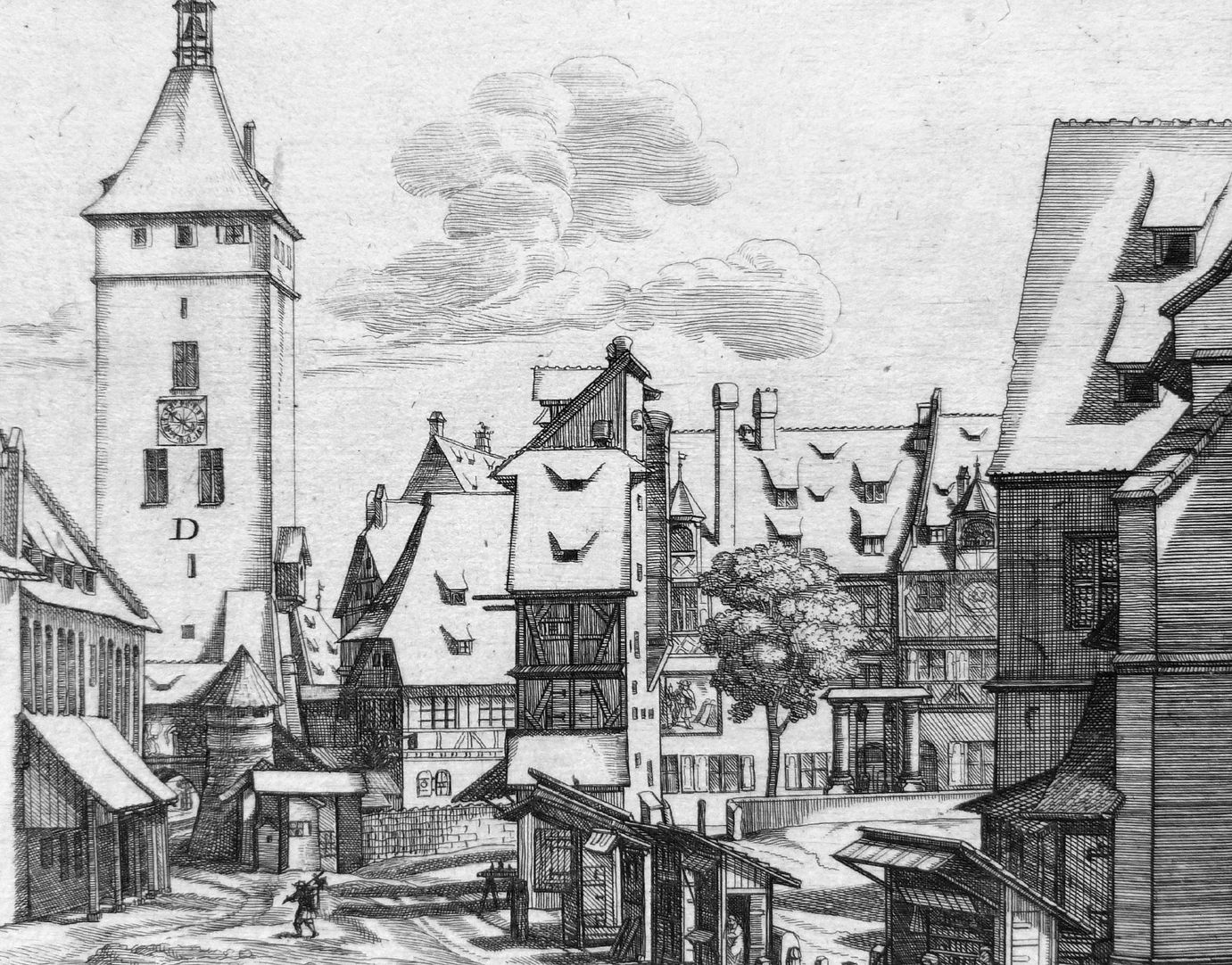 """""""Urbis Norimbergensis Insigniorum Templorum …"""" Deutschordenshaus und St. Jacob Bildausschnitt mit Bebauung zwischen Weißer Turm und St. Jacob"""