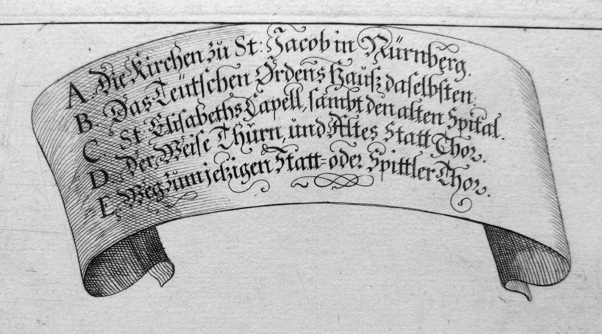 """Urbis Norimbergensis Insigniorum Templorum …"" Deutschordenshaus und St. Jacob Bildlegende"