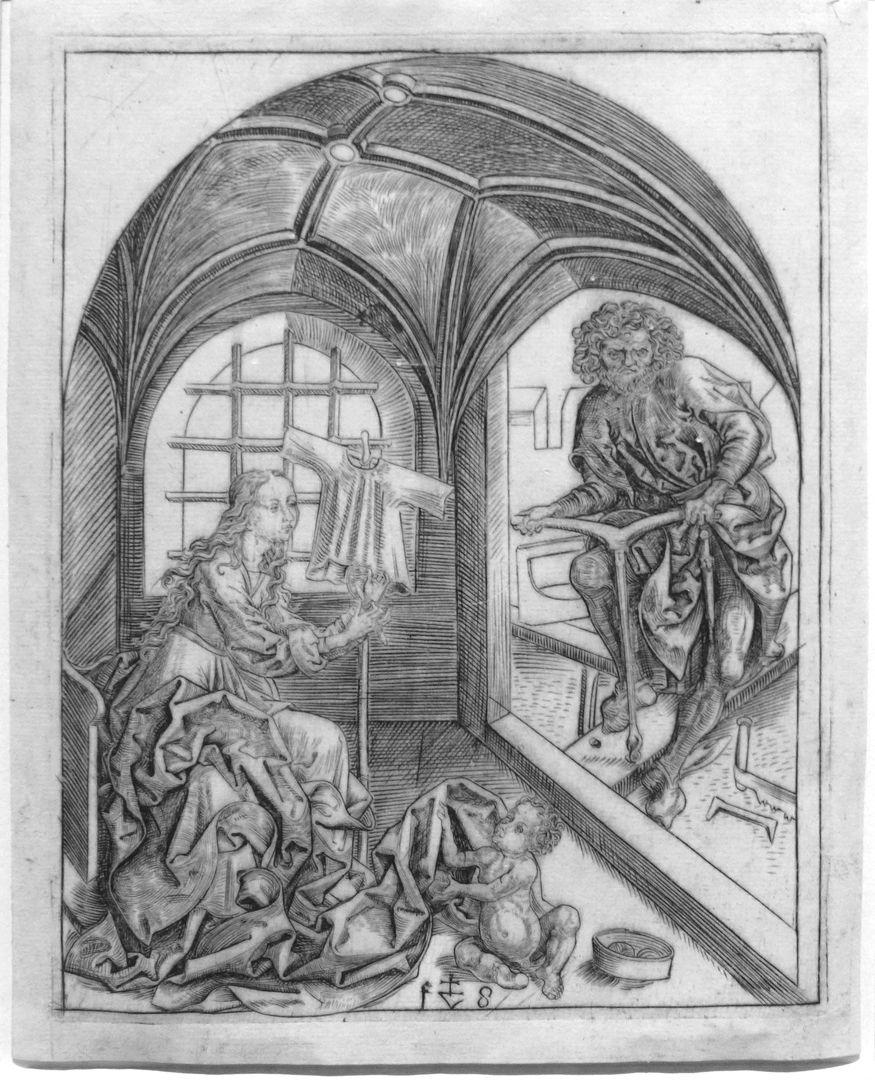 Die Heilige Familie Die Heilige Familie: In einem sternrippengewölbten Raum näht Maria am Rock Jesu, der nackt zu ihren Füßen sitzt; im freien Nebenraum bohrt Josef ein Loch in einen Balken.