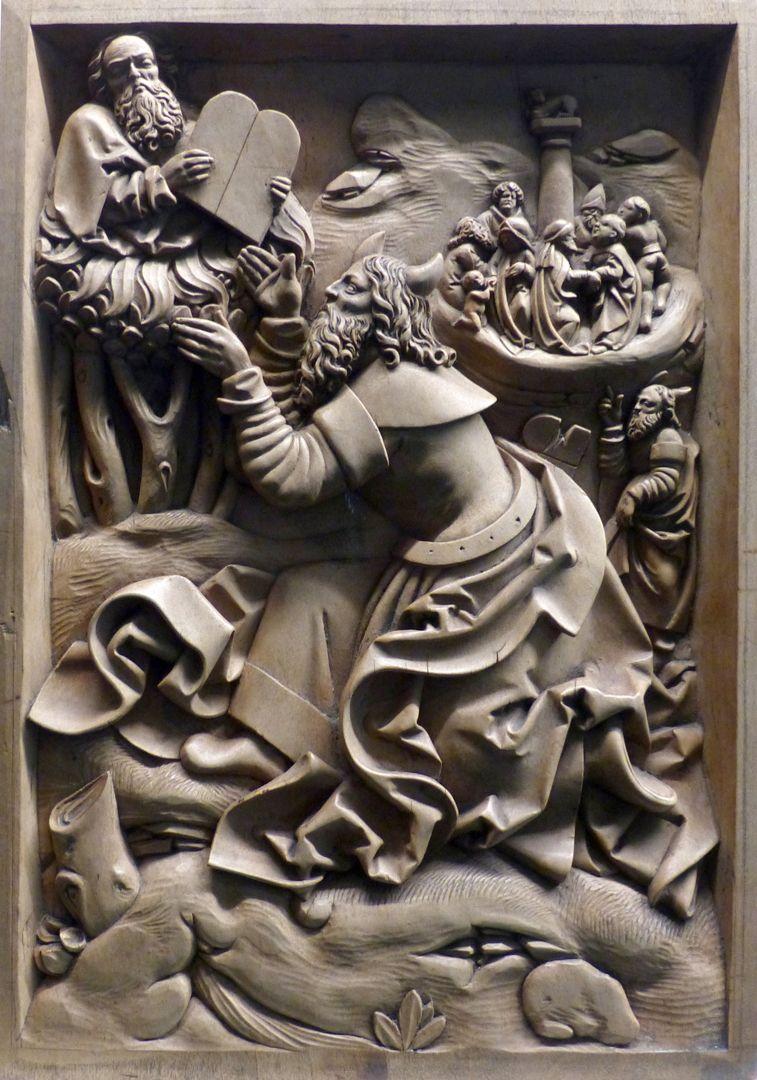 Die Zehn Gebote Der gehörnte Moses empfängt die Tafeln von Gottvater. Oben rechts der Tanz um das Goldene Kalb.