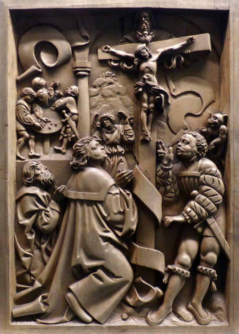 Die Zehn Gebote Oben links das erste Gebot: Ich bin der Herr, dein Gott. Du sollst keine anderen Götter haben neben mir (Mammon, Spielsucht). Im Vordergrund das zweite Gebot: Du sollst den Namen des Herrn, deines Gottes, nicht missbrauchen (schwören, fluchen)