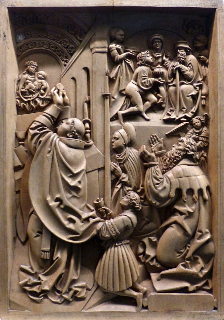 Die Zehn Gebote Das dritte Gebot: Du sollst den Feiertag heiligen. Oben rechts das vierte Gebot: Du sollst deinen Vater und deine Mutter ehren.