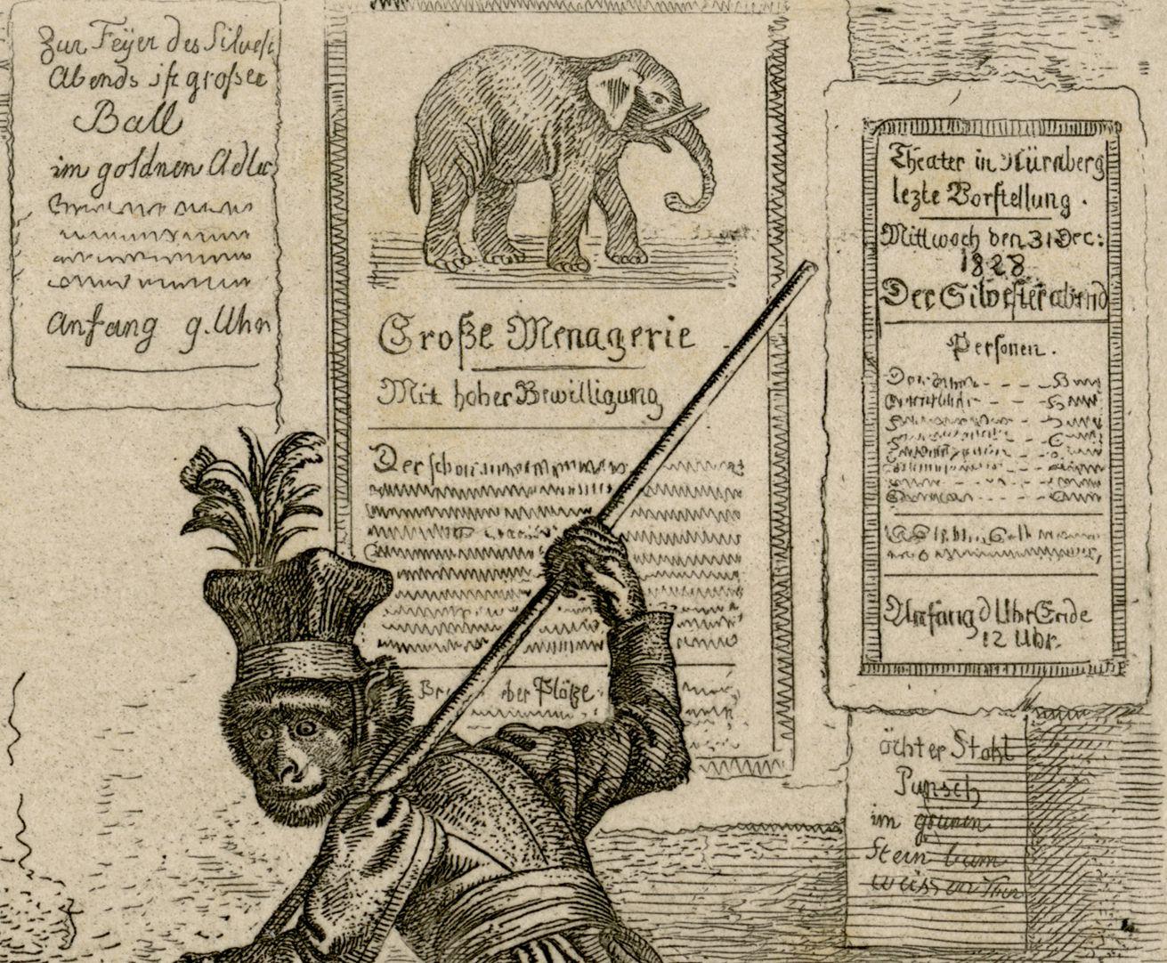 Drei Affen rechte Bildhälfte, Detail