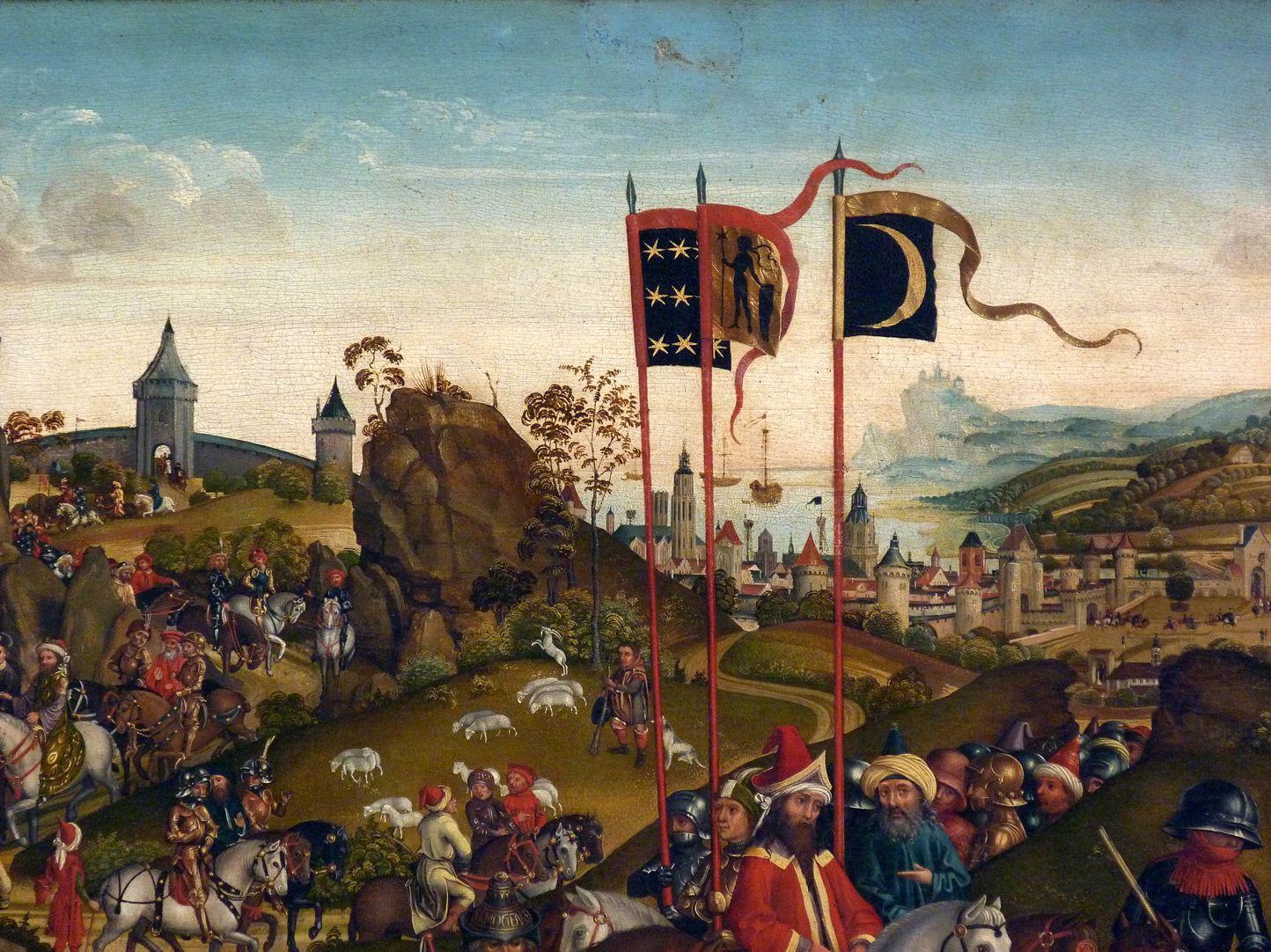 Dreikönigsaltar Gefolge der Heiligen Drei Könige mit Fahnenträgern