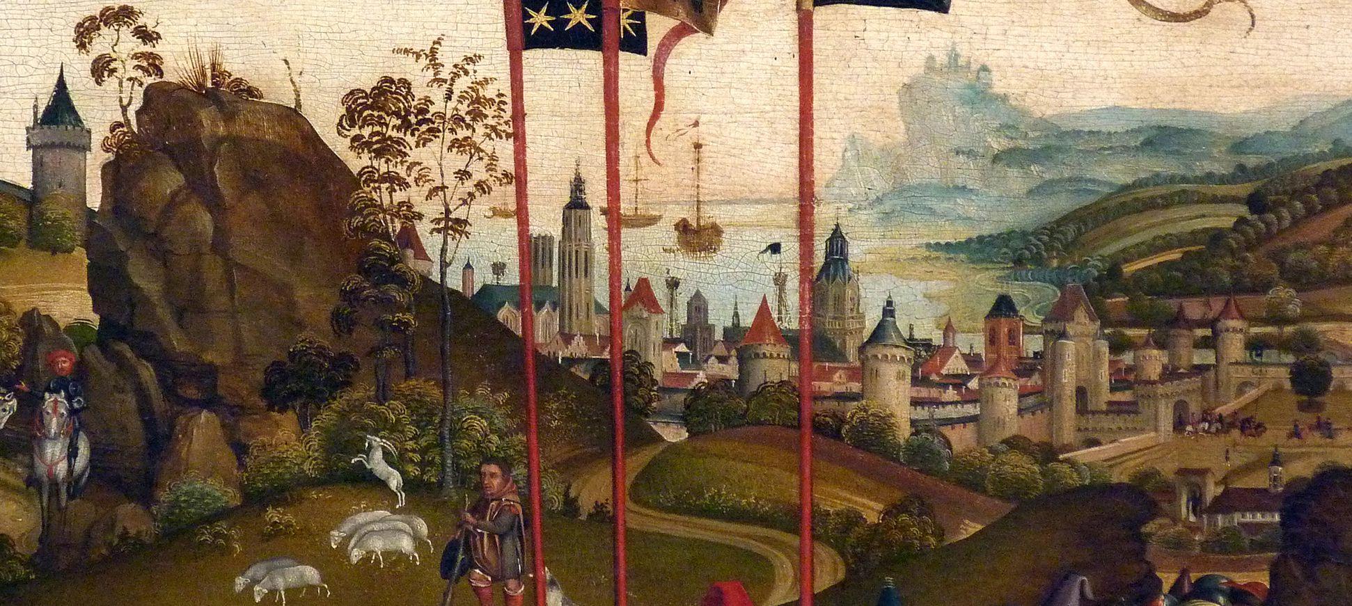 Dreikönigsaltar Hintergrund mit Stadt in der Landschaft - den idealen Vorbildern entsprechend ist diese nicht fränkisch, sondern niederrheinisch-flämisch geprägt.