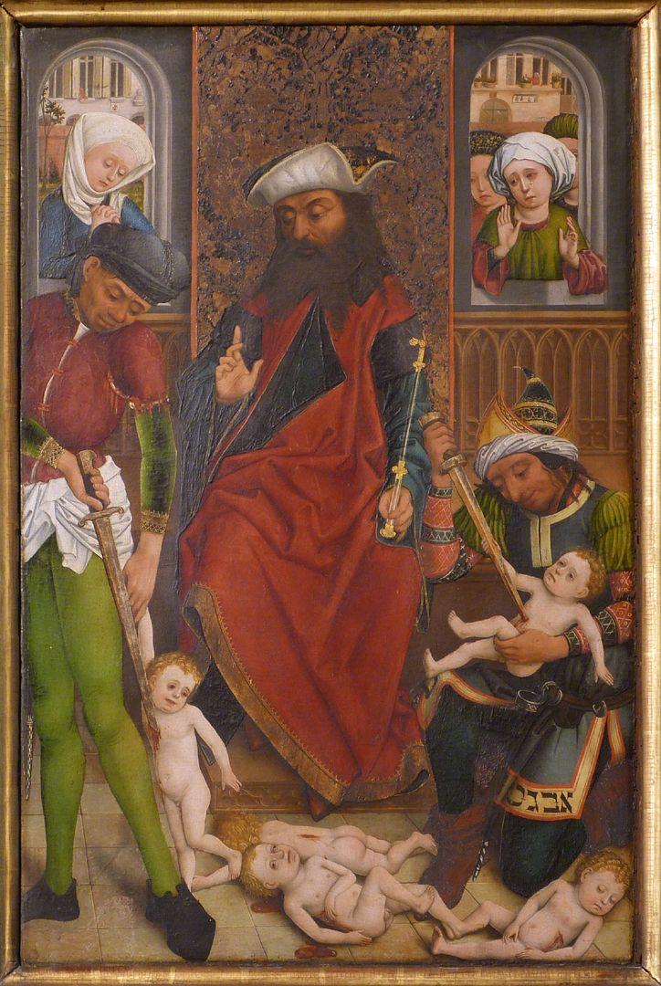 Dreikönigsaltar rechter Seitenflügel, unten: Bethlehemitischer Kindermord, Streiflicht