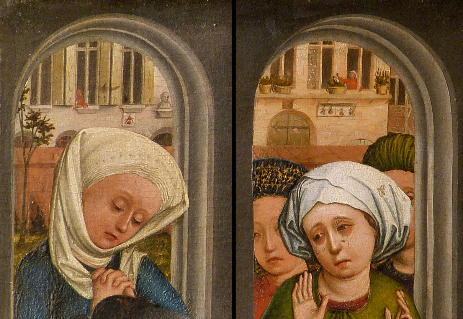 Dreikönigsaltar rechter Seitenflügel, unten: Bethlehemitischer Kindermord, Detailansicht der beiden Bogenöffnungen