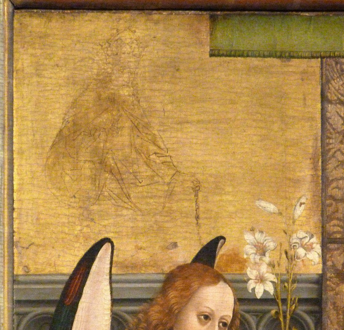 Dreikönigsaltar linker Seitenflügel, oben: Verkündigung, obere linke Ecke, Detail mit Gottvater