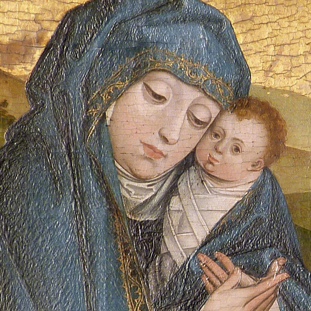 Dreikönigsaltar rechter Seitenflügel, oben: Flucht nach Ägypten, Maria mit Jesuskind