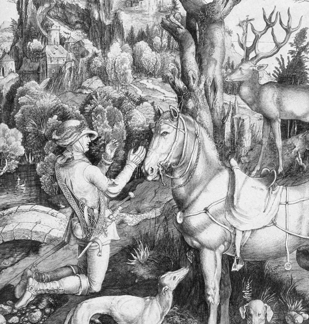 hl. Eustachius Placidus (Eustachius) kniet vor dem Hirsch
