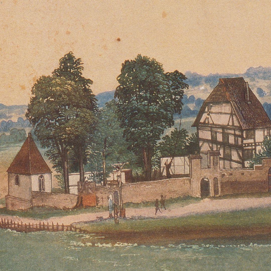 Kirche und Kirchhof von Sankt Johann bei Nürnberg Links der Vorgängerbau der Holzschuherkapelle (erstmals 1395 geweiht, zum zweiten Mal 1427), rechts das Priesterhaus von St. Johannis; vorn das damals noch außerhalb des Friedhofs befindliche Kreuz mit Maria und Johannes von 1490.