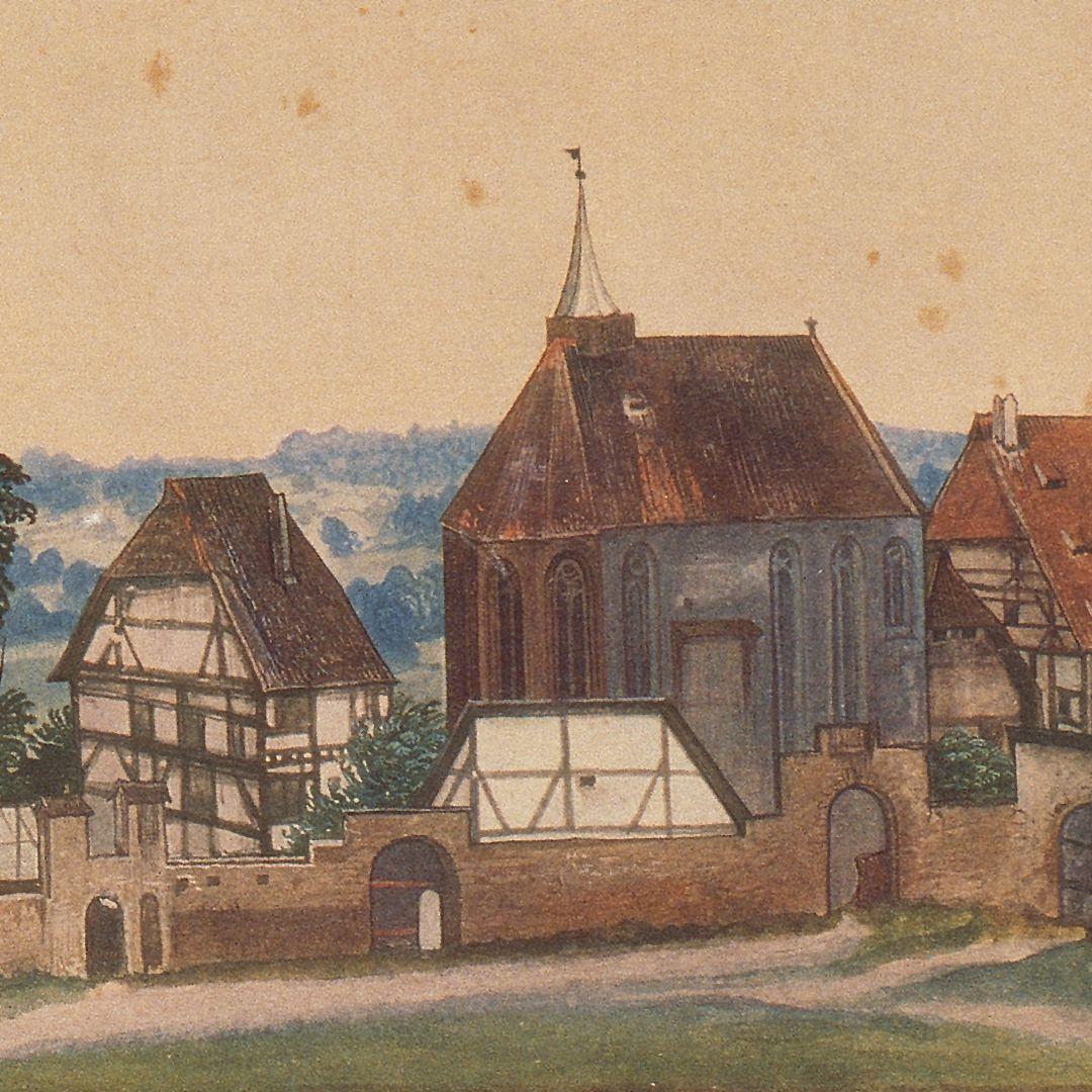 Kirche und Kirchhof von Sankt Johann bei Nürnberg Sankt Johanniskirche mit dem verbundenen Siechenhaus. Links neben der Kirchenapsis das Wohnhaus des Priesters; vor der Kirchenapsis ein Vorgängerbau des heutigen Steinschreiberhauses.
