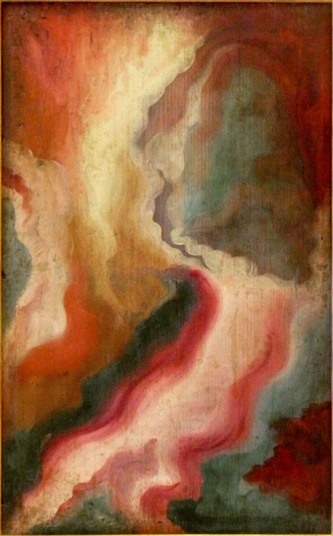 Christus als Schmerzensmann Rückseite, als Abstraktbild erscheinend