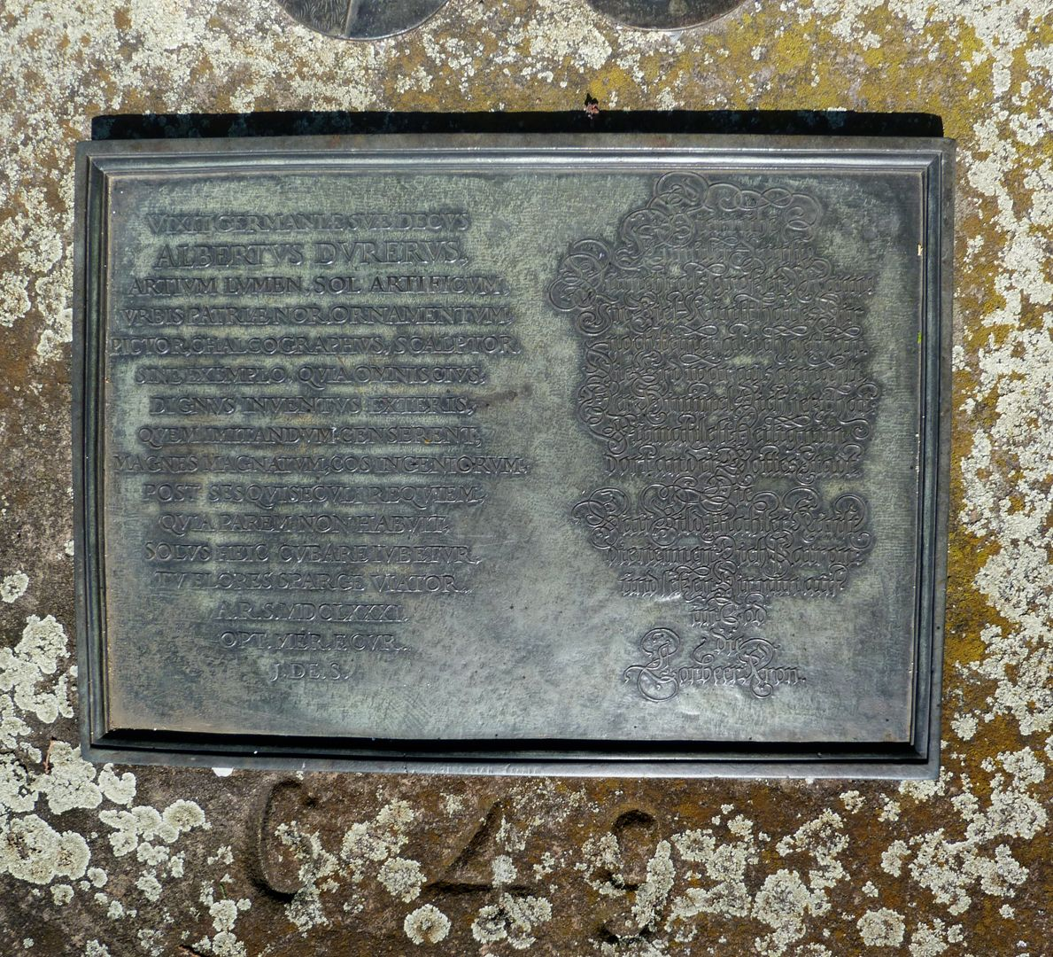 Albrecht Dürer Grabstätte Grabinschrift aus dem Jahre 1681 von Joachim von Sandrart
