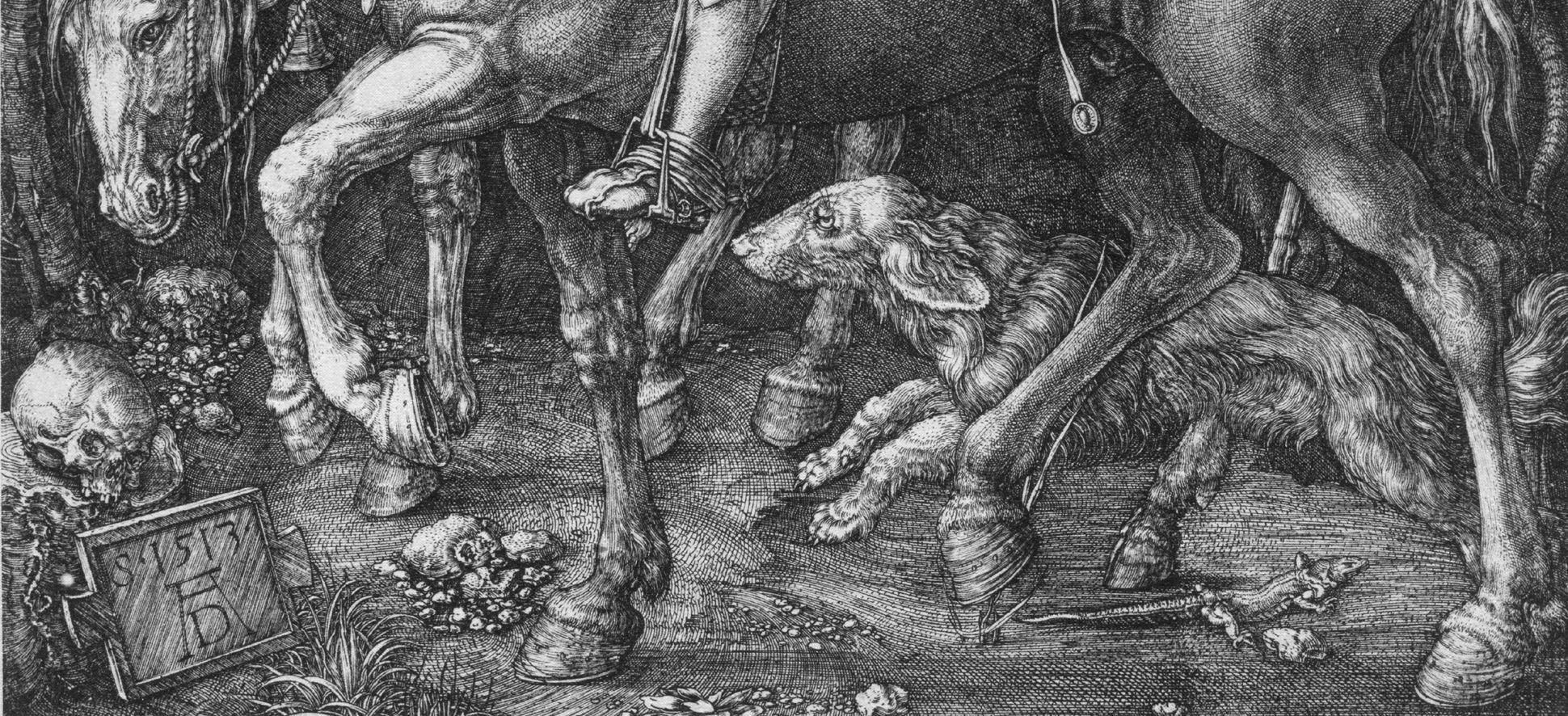 Ritter, Tod und Teufel unteres Bilddrittel mit Signatur