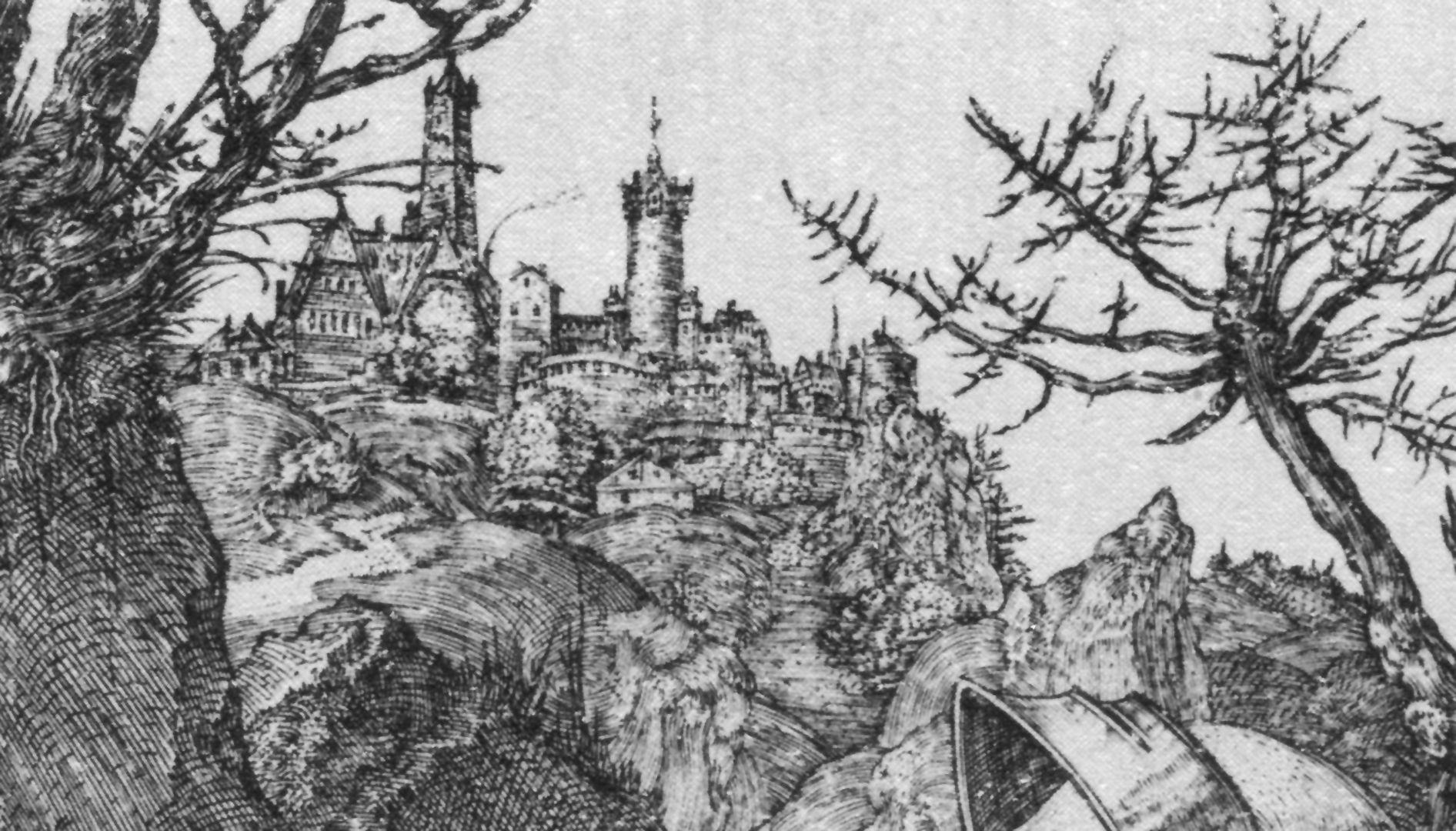 Ritter, Tod und Teufel Detail mit Burg