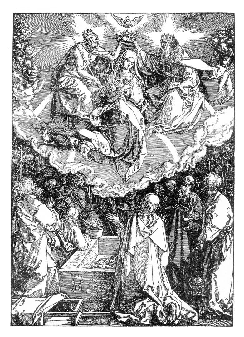 Himmelfahrt und Krönung Mariä Dürerscher Holzschnitt von 1510: Mariä Himmelfahrt und Krönung