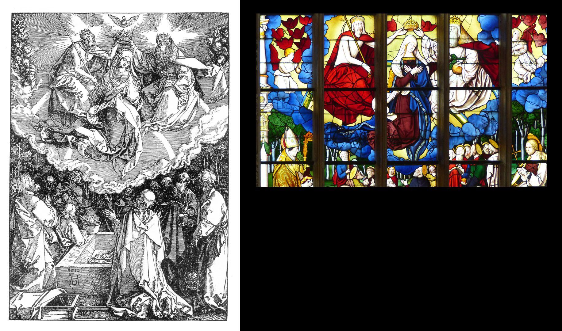 Himmelfahrt und Krönung Mariä Gegenüberstellung Dürer und Fenster in Brou