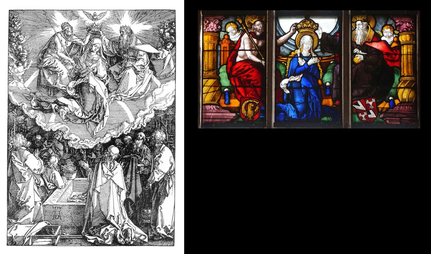 Himmelfahrt und Krönung Mariä Gegenüberstellung Dürer und Fenster in Rochus