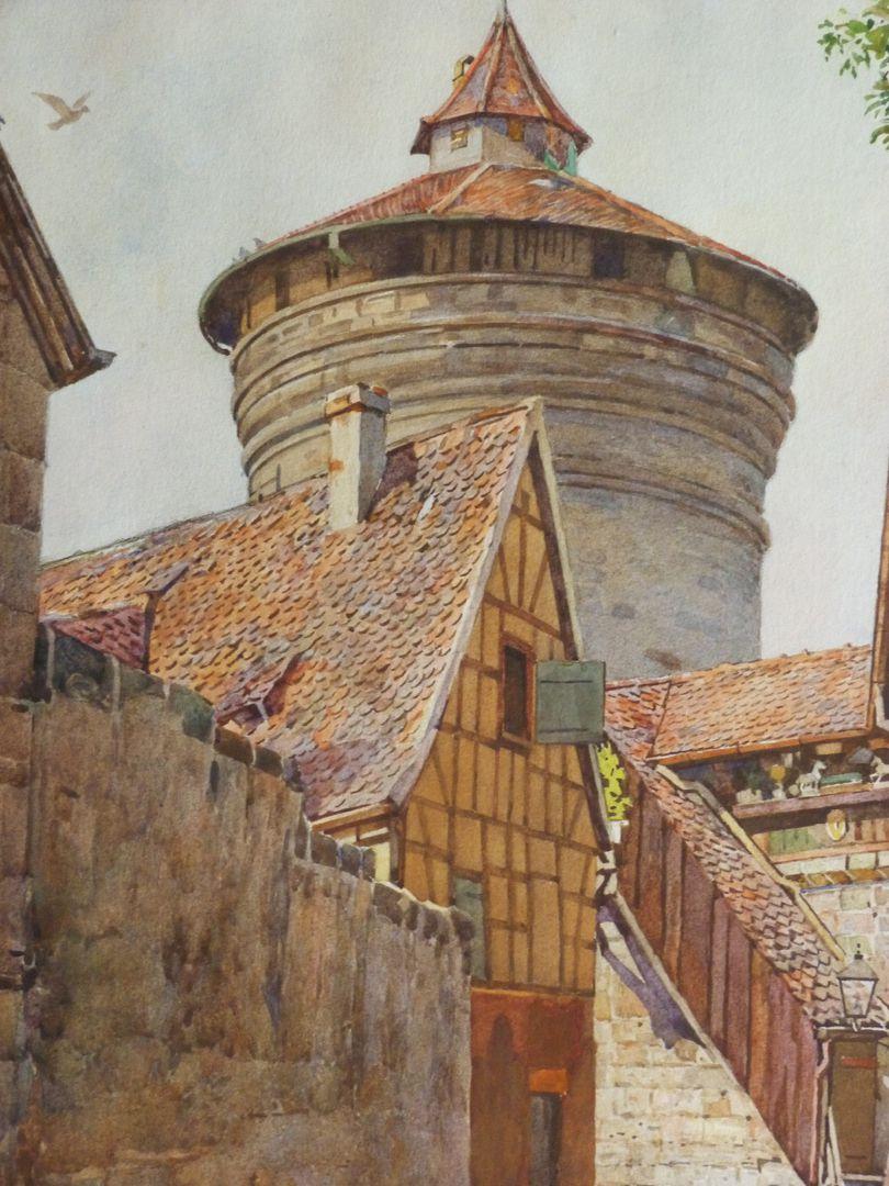 Nürnberg, Neutormauer mit Neutorturm Detailansicht