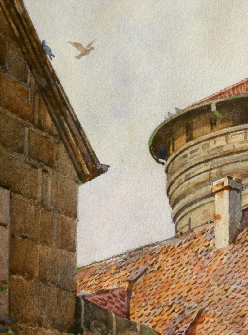 Nürnberg, Neutormauer mit Neutorturm Detailausschnitt