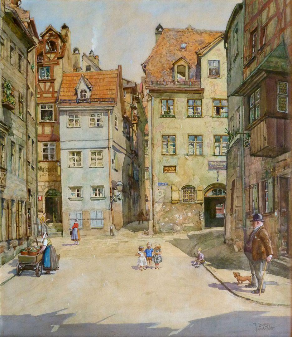 Nürnberger Straßenszene Gesamtansicht