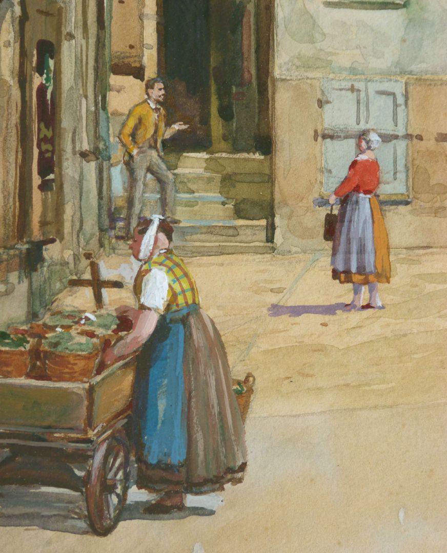 Nürnberger Straßenszene Detailansicht: Marktfrau
