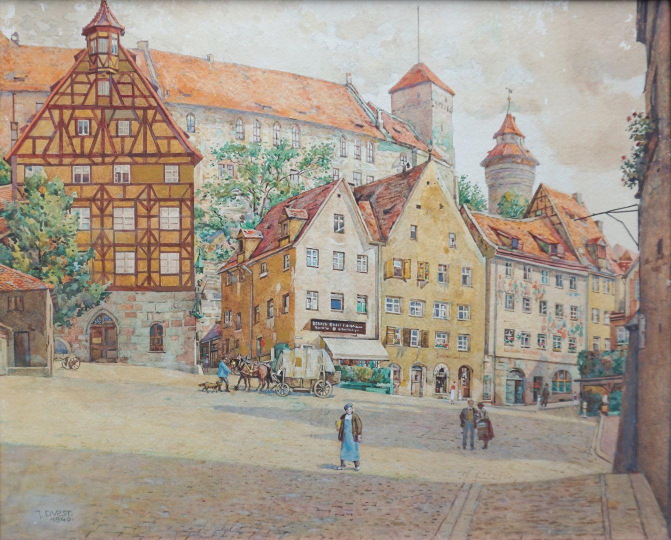 Tiergärtnertorplatz Unterhalb der Burg, Pilatushaus (links) und Häuser des Tiergärtnertorplatzes, rechter Bildrand Dürerhaus mit kegelförmigem Strebepfeiler (beziehungsweise Prellstein)