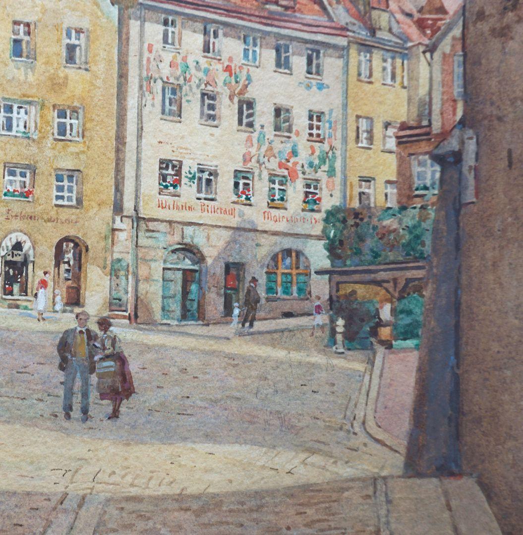 Tiergärtnertorplatz Detail mit Fassadenmalerei an der Oberen Schmiedgasse 52