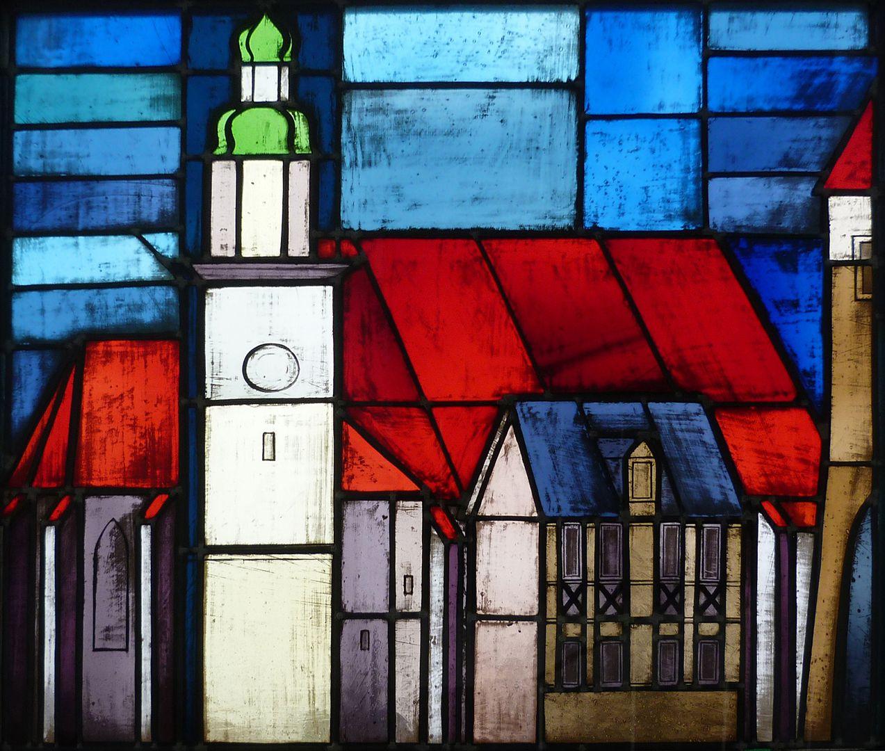 Glasfenster zur Stadtgeschichte Treppenaufgang zum zweiten Stock, Johanniskirche in Lauf