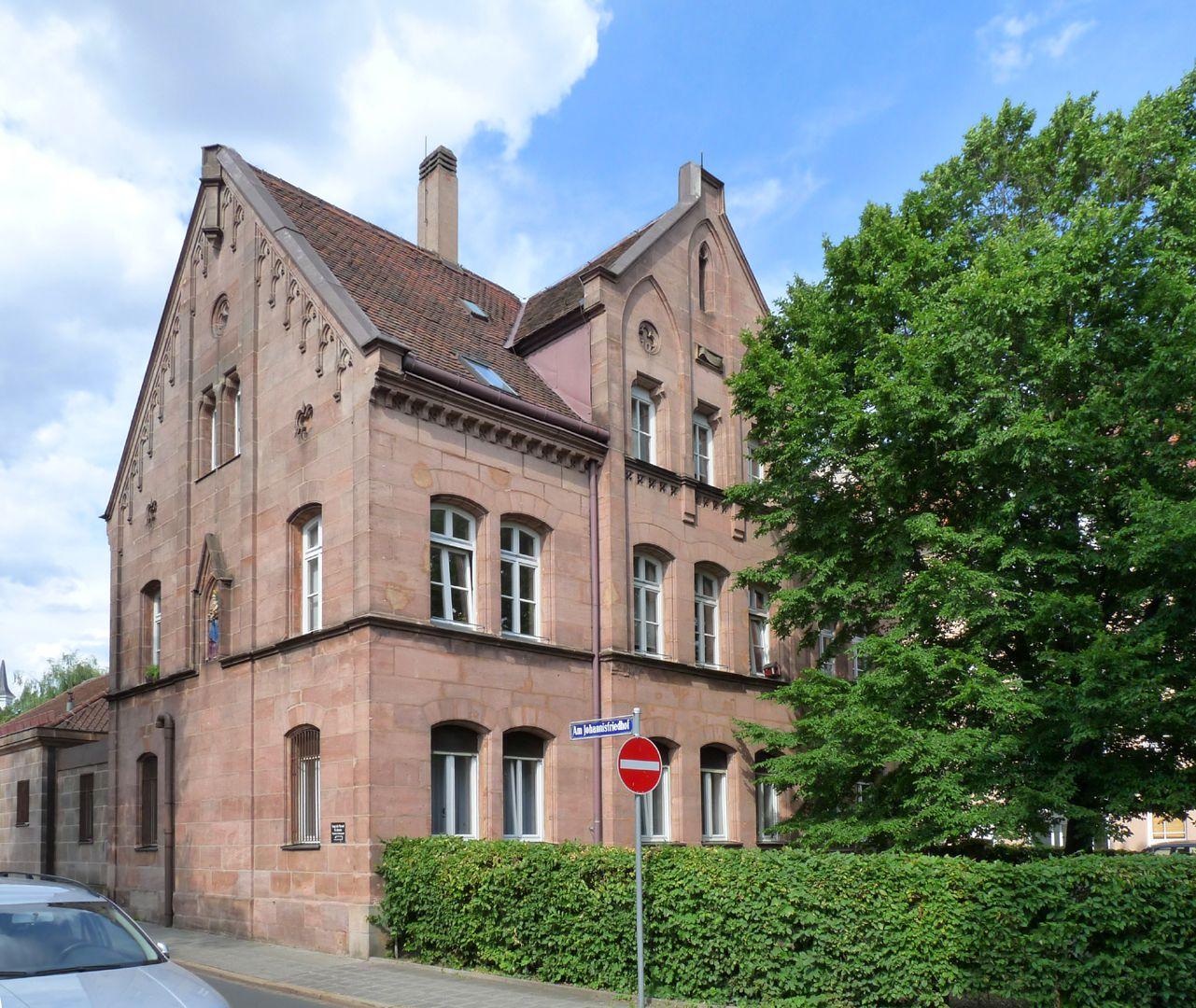 Pfarrhaus am Johannisfriedhof Südwest-Ansicht