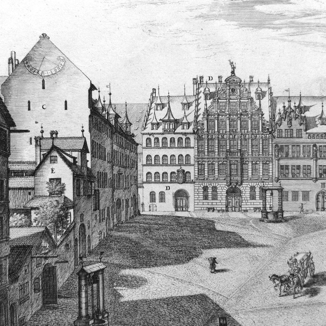 """""""Urbis Norimbergensis Insigniorum Templorum …"""" Egidienkirche und Platz C: Imhoffische Häuser, D: Pellerhaus, E: der alte Tetzelhof"""