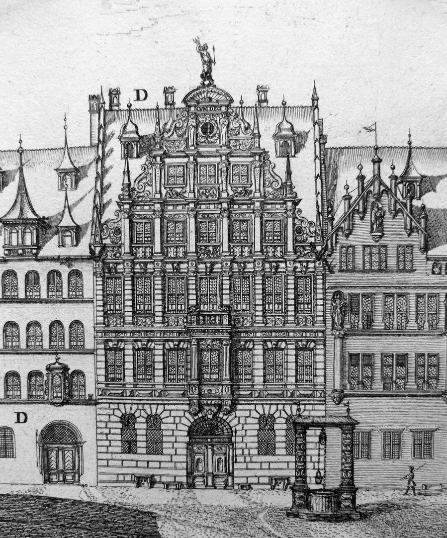 """""""Urbis Norimbergensis Insigniorum Templorum …"""" Egidienkirche und Platz Pellerhaus"""