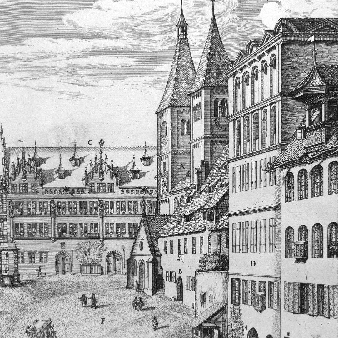 """""""Urbis Norimbergensis Insigniorum Templorum …"""" Egidienkirche und Platz A: St. Egidienkirche, B: Gymnasium, C: Imhoffische Häuser D: Pellerhaus"""