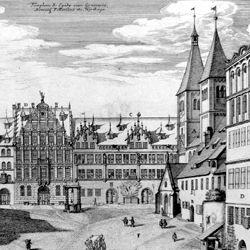 """Urbis Norimbergensis Insigniorum Templorum …"" Egidienkirche und Platz"