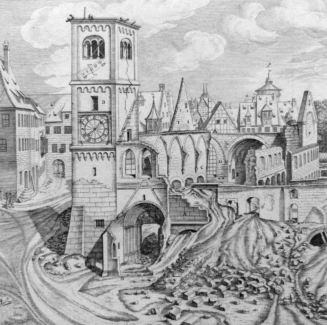 """""""Urbis Norimbergensis Insigniorum Templorum …"""" Ruine der Egidienkirche Kirchturm und Ruine"""