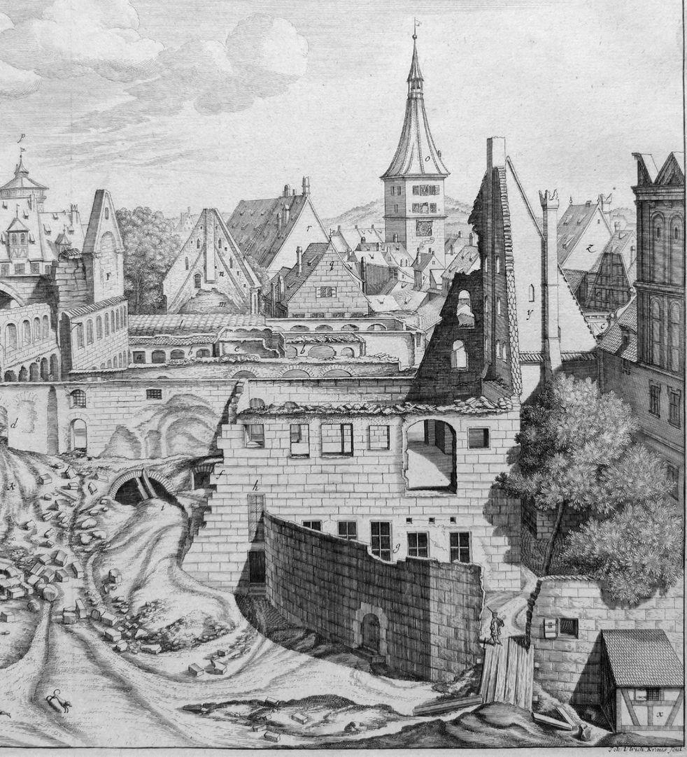 """""""Urbis Norimbergensis Insigniorum Templorum …"""" Ruine der Egidienkirche Blick über die Ruine zum Laufer Schlagturm"""