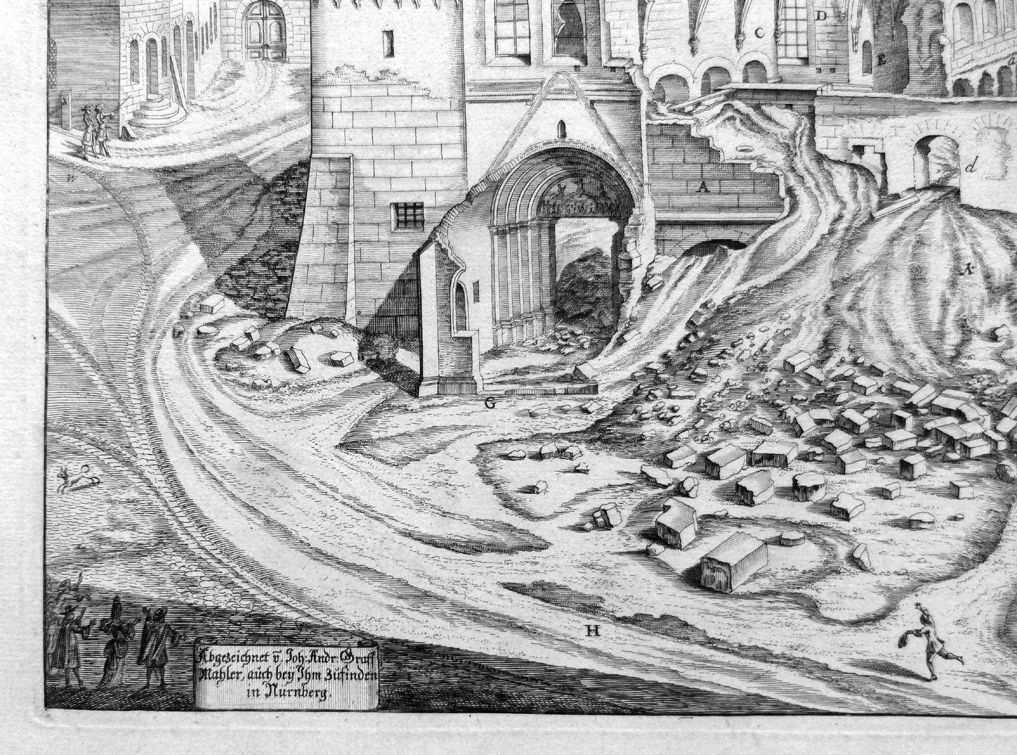 """""""Urbis Norimbergensis Insigniorum Templorum …"""" Ruine der Egidienkirche linkes unteres Bildviertel mit Signatur"""