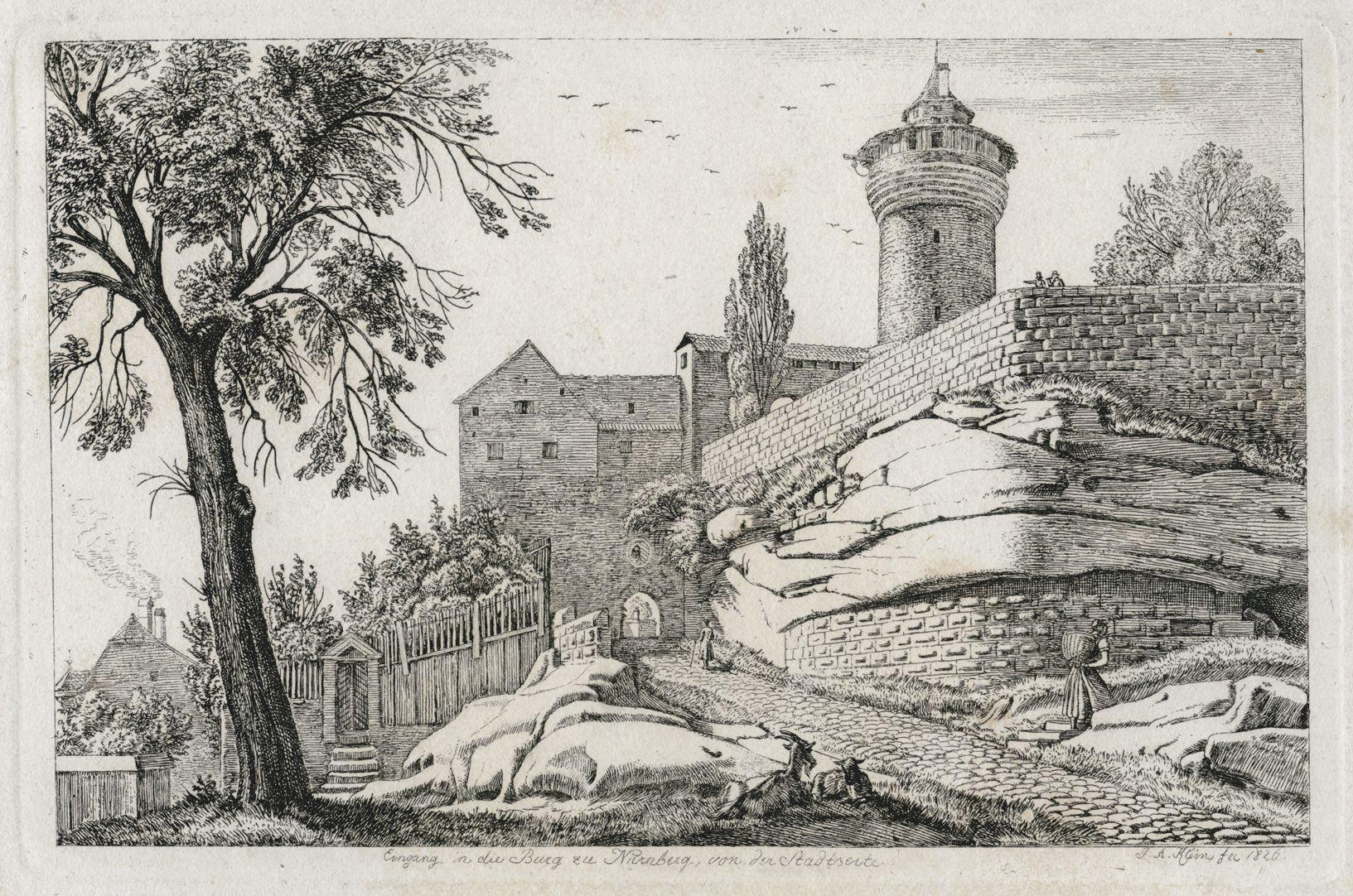 Eingang in die Burg zu Nürnberg, von der Stadtseite Gesamtansicht