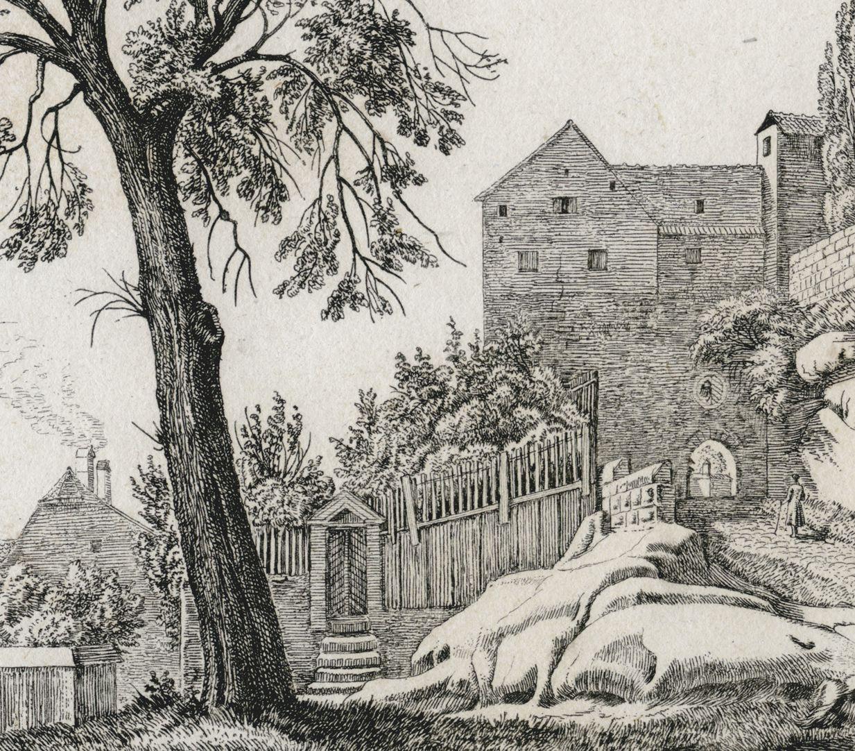 Eingang in die Burg zu Nürnberg, von der Stadtseite Detail mit Garten und Eingang zur Burg