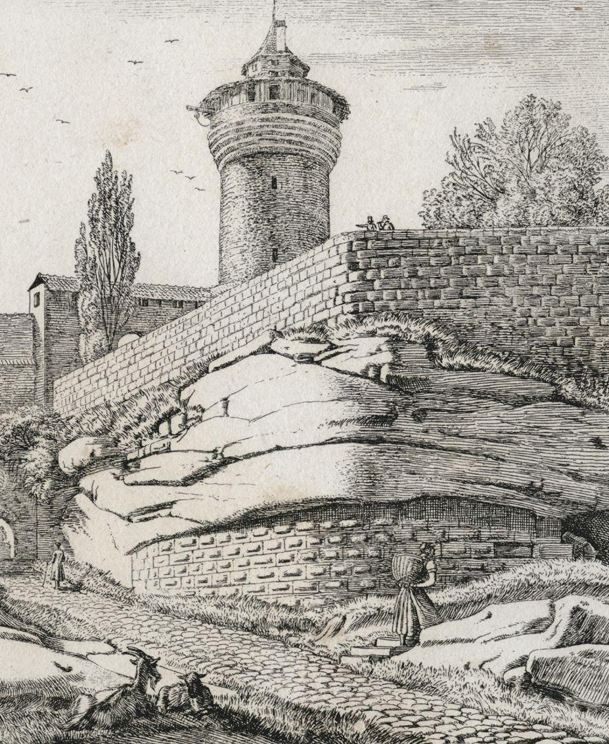 Eingang in die Burg zu Nürnberg, von der Stadtseite Detail mit Sinwellturm und Sandsteinfelsen